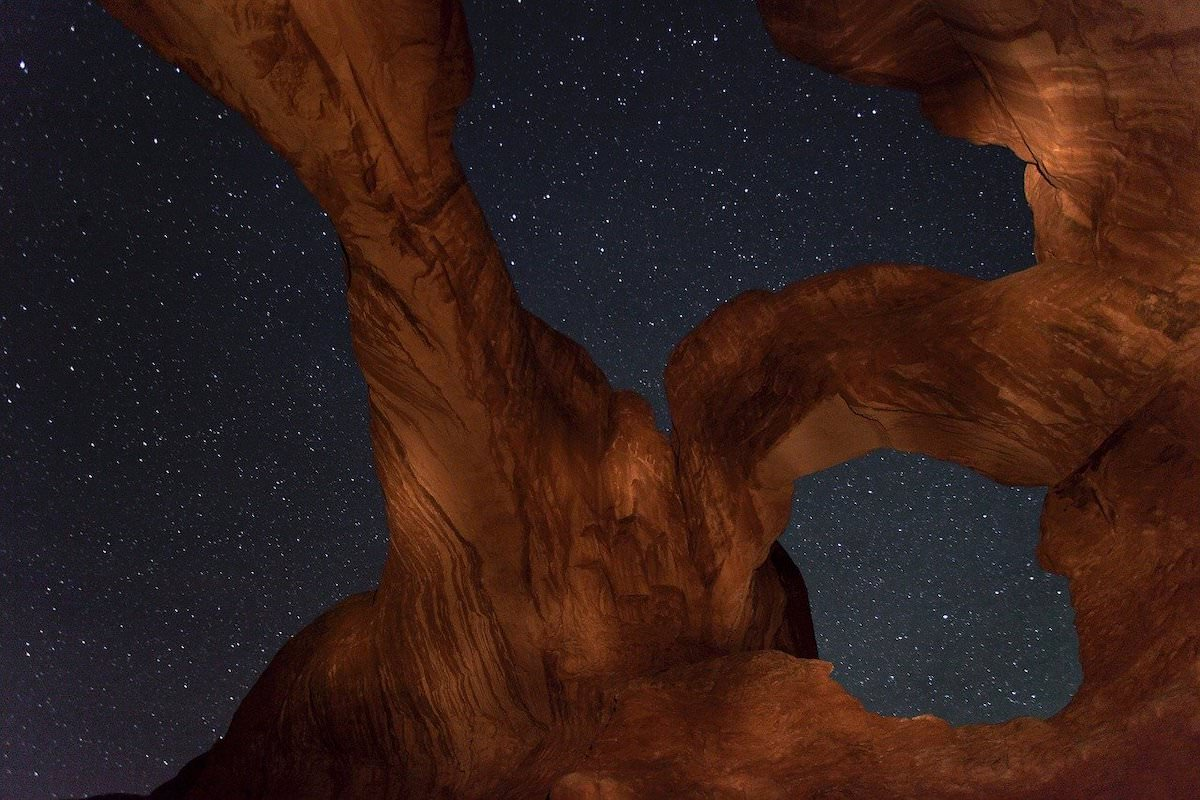 best photography spots in arches national park, where is the double arch, night photography,