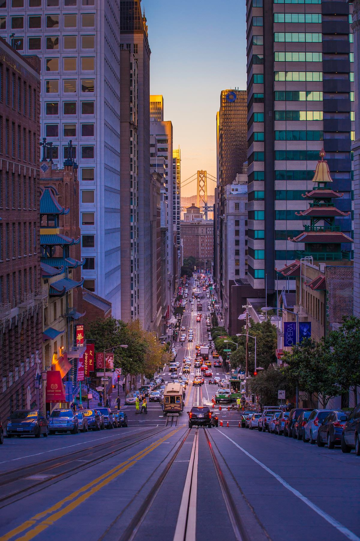 where is that shot of san francisco looking down a street with a bridge in the middle of the buildings exact location